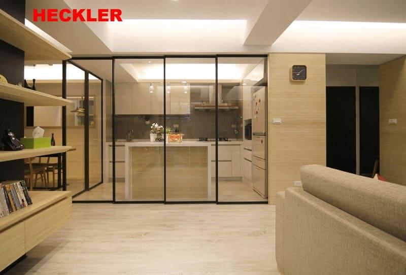 Cửa trượt phòng khách và phòng bếp hiện đại